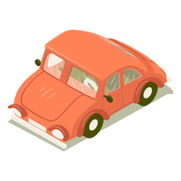 Carro isométrico de transporte rojo
