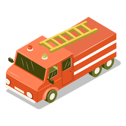 Isometric transport fire engine