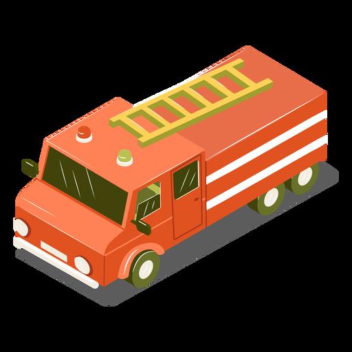 Camión de bomberos de transporte isométrico