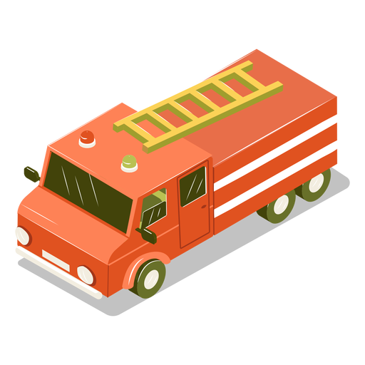 Isometric transport fire engine Transparent PNG