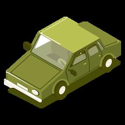 Coche verde de transporte isométrico.
