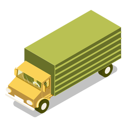 Isometrischer Transport grüner LKW