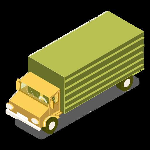 Camión verde de transporte isométrico Transparent PNG
