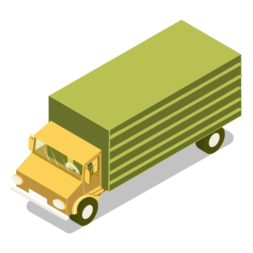 Isometric transport green truck