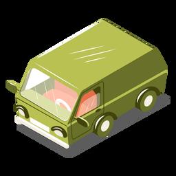 Minibús de transporte isométrico