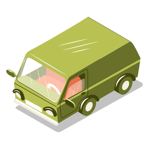 Isometric transport minibus Transparent PNG
