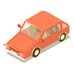 Transporte isométrico coche rojo