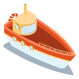 Barco rojo de transporte isométrico