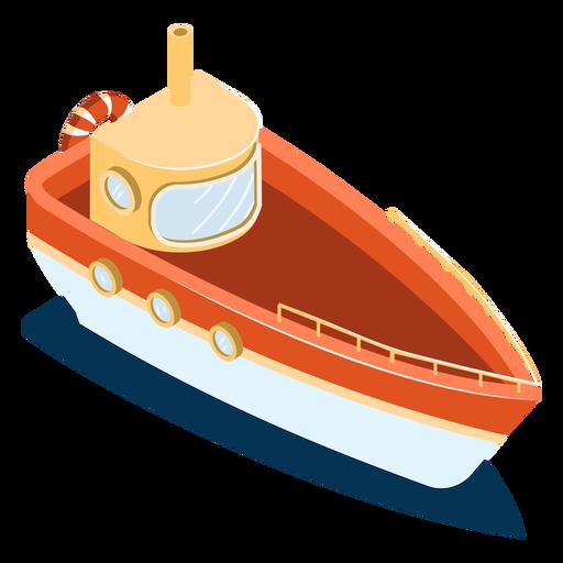 Barco rojo de transporte isométrico Transparent PNG