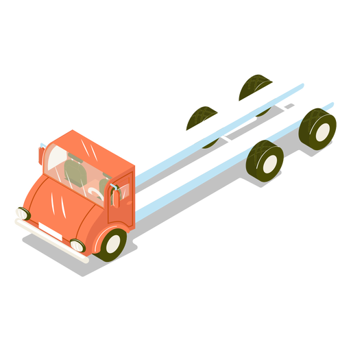 Isometric transport red truck Transparent PNG