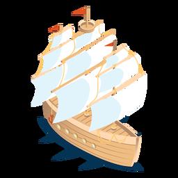 Barco de transporte isométrico de madeira