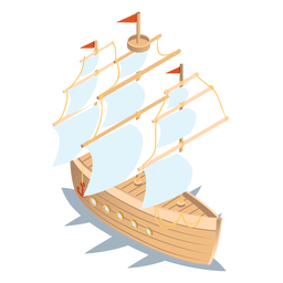 Isometric transport wood boat