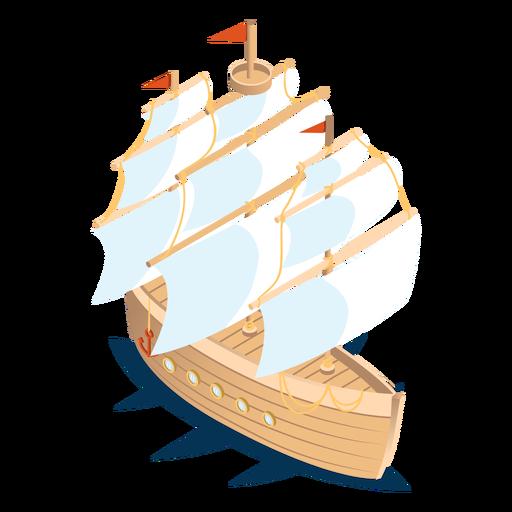 Isometric transport wood boat Transparent PNG