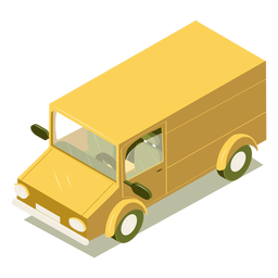 Isometric transport yellow minibus