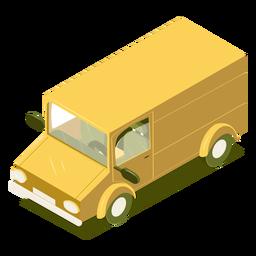 Microônibus amarelo isométrico de transporte
