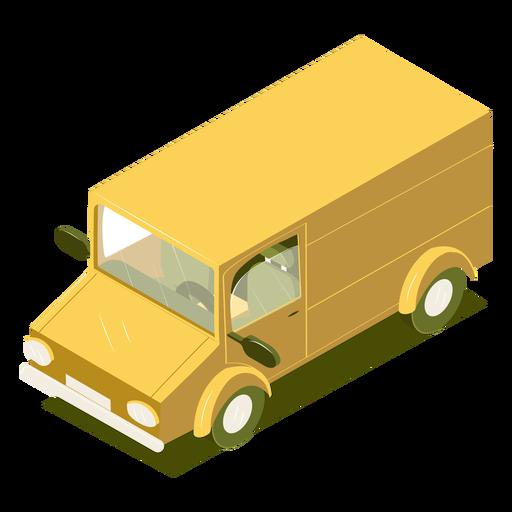 Minibús amarillo de transporte isométrico