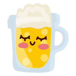 Personaje de jarra de cerveza kawaii