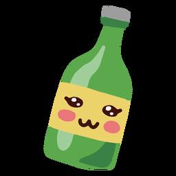 Botella Kawaii verde personaje