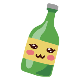 Kawaii character green bottle
