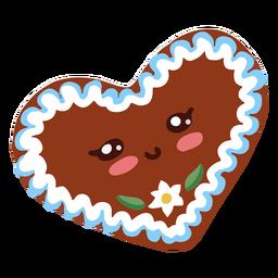 Corazón de galleta de oktoberfest de personaje kawaii