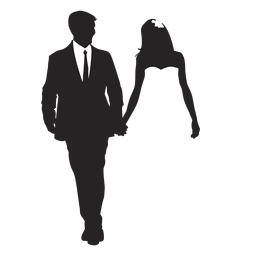 Parejas casadas silueta boda