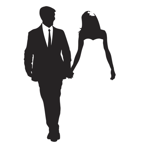Married couples silhouette wedding