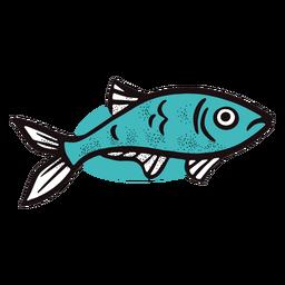 Ocean blue fish stroke