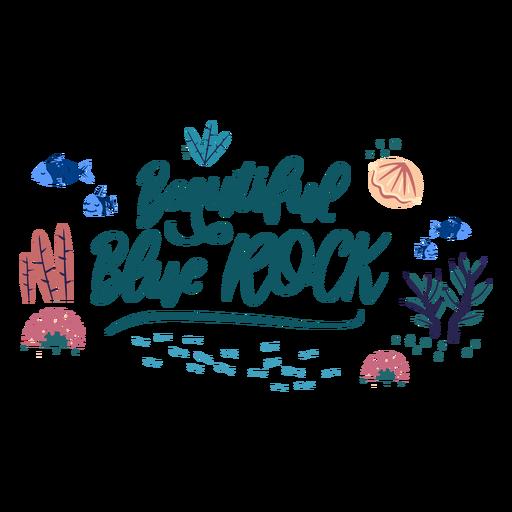 Ocean lettering blue rock