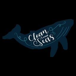 Ballena de letras del océano