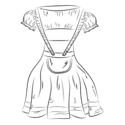 Vestido de Oktoberfest dibujado a mano