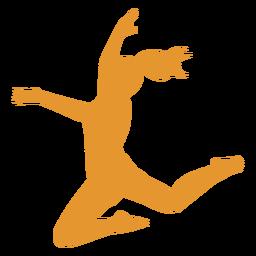 Salto de silueta naranja niña