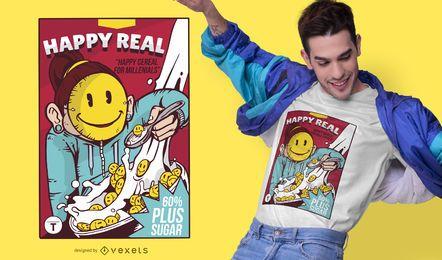 Design de t-shirt de caixa de cereal sorridente