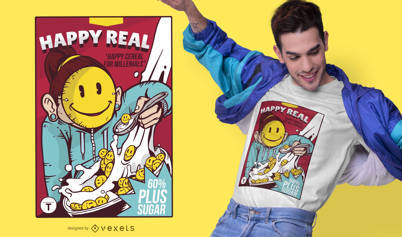 Diseño de camiseta Smiley Cereal Box