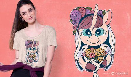 Diseño de camiseta de novia unicornio