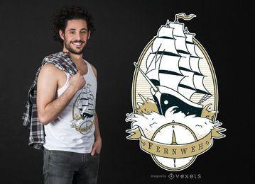 Design de camiseta com cotação de navio a vela