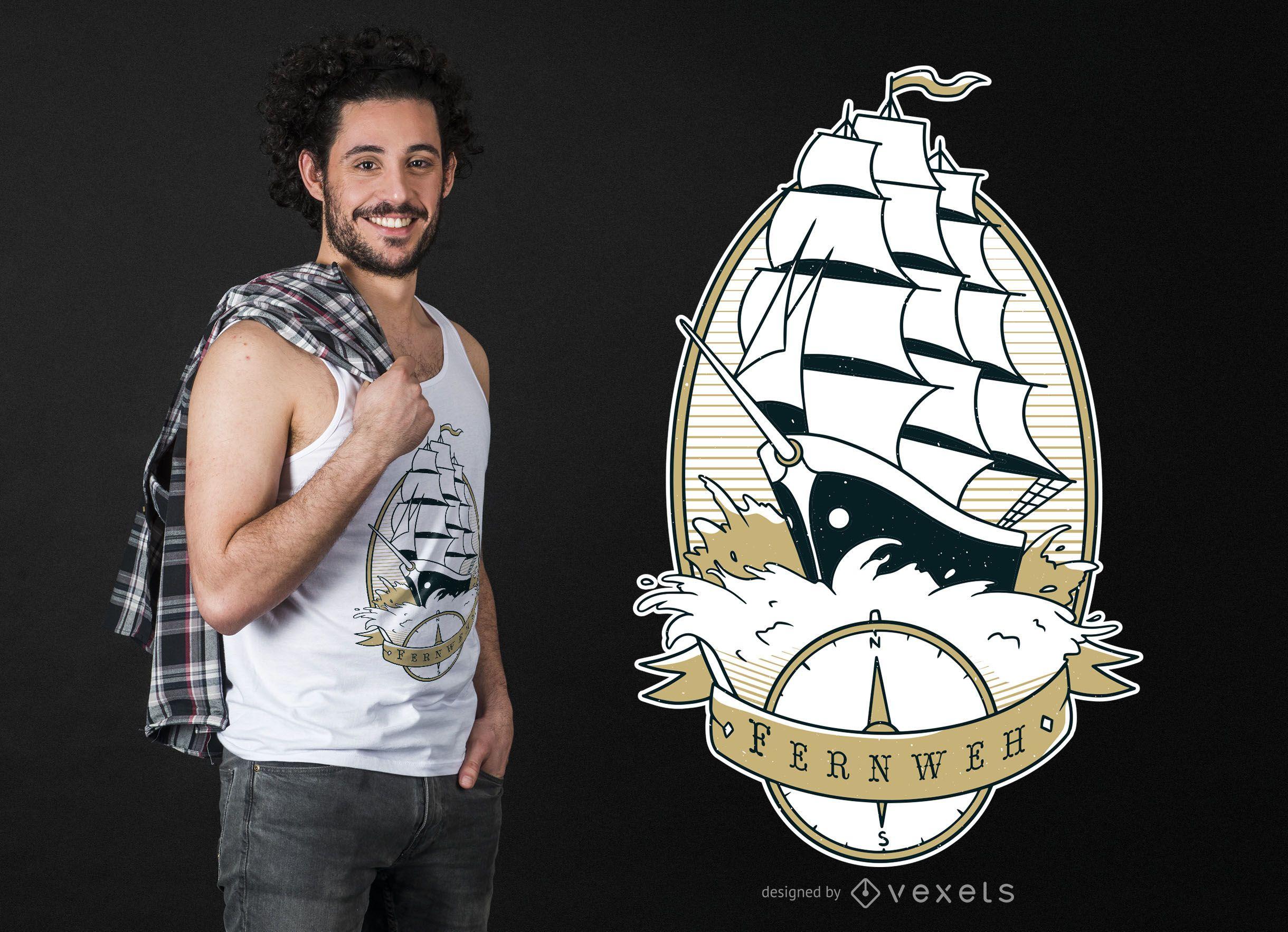 Sail Ship Quote T-shirt Design