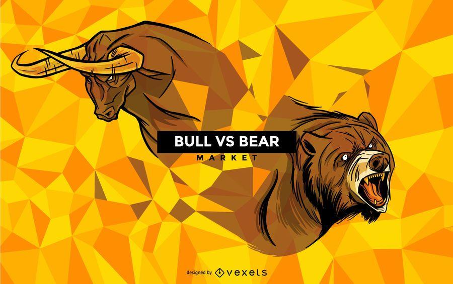 Toro vs oso ilustración animal