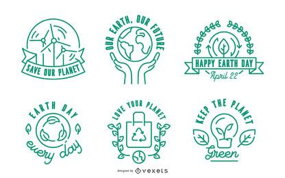 Earth Day Stroke Badge Set