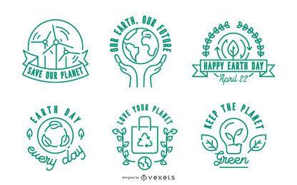 Earth Day Stroke Badge Set