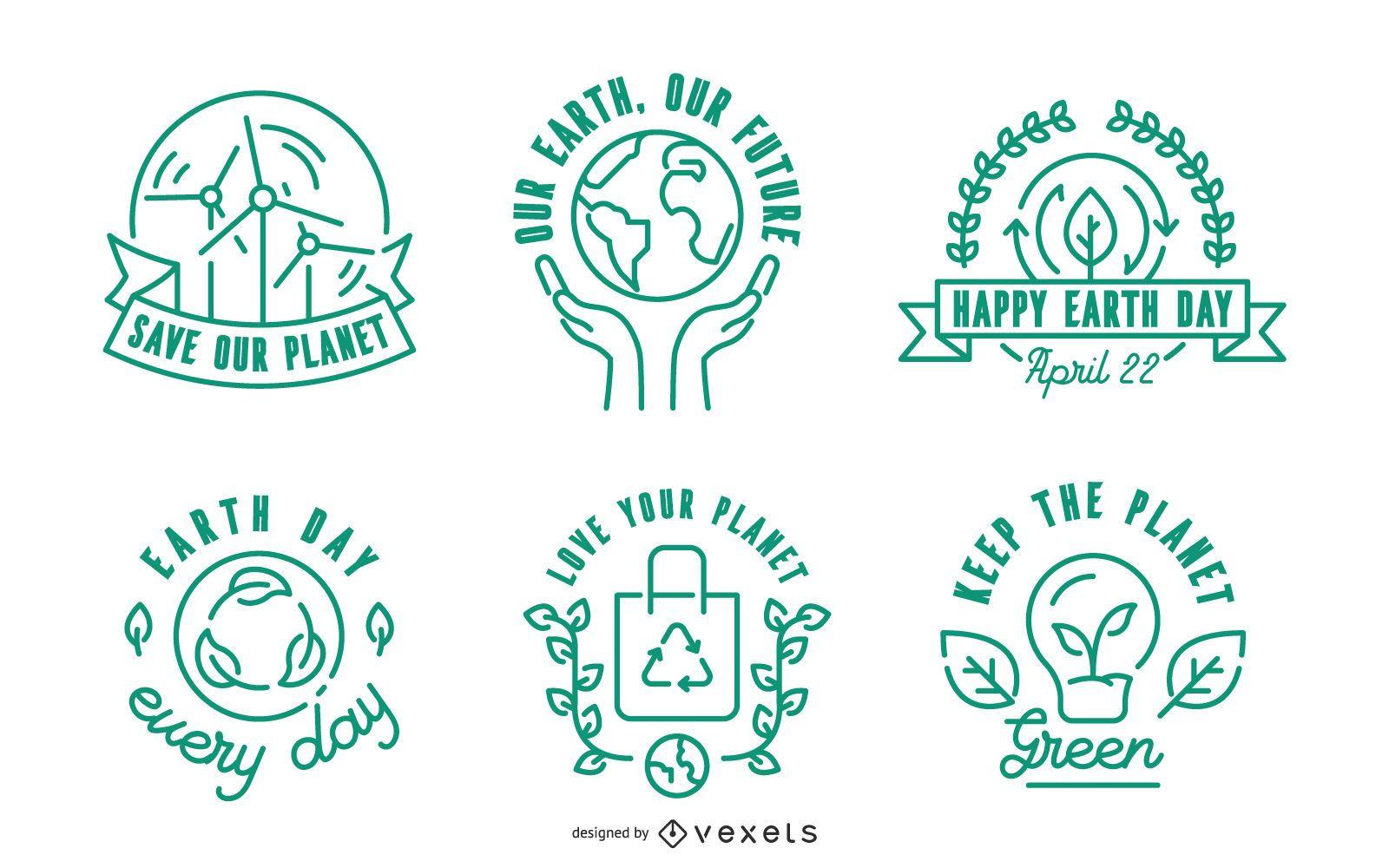 Conjunto de insignias de trazo del Día de la Tierra