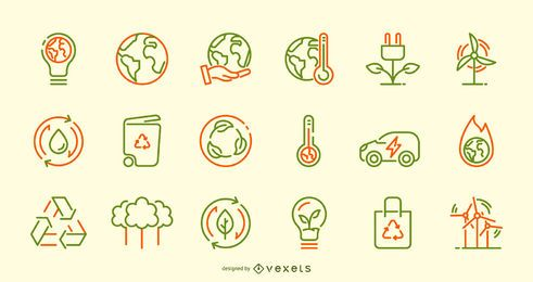 Conjunto de ícones de acidente vascular cerebral do Dia da Terra