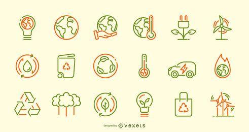 Conjunto de ícones de traçado do dia da terra