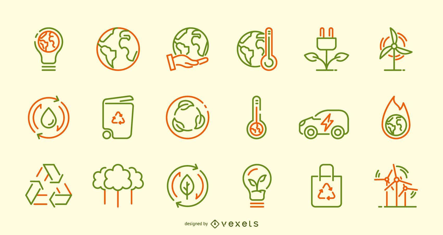 Conjunto de iconos de trazo del día de la tierra