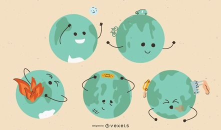 Earth Day Planet Cartoon Set