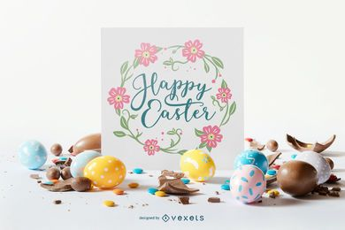 Easter Lettering Composition Design
