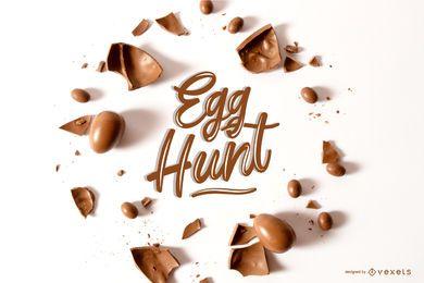 Composição de letras de chocolate de Páscoa