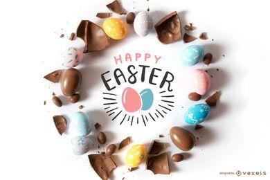 Composição de ovo de chocolate feliz Páscoa