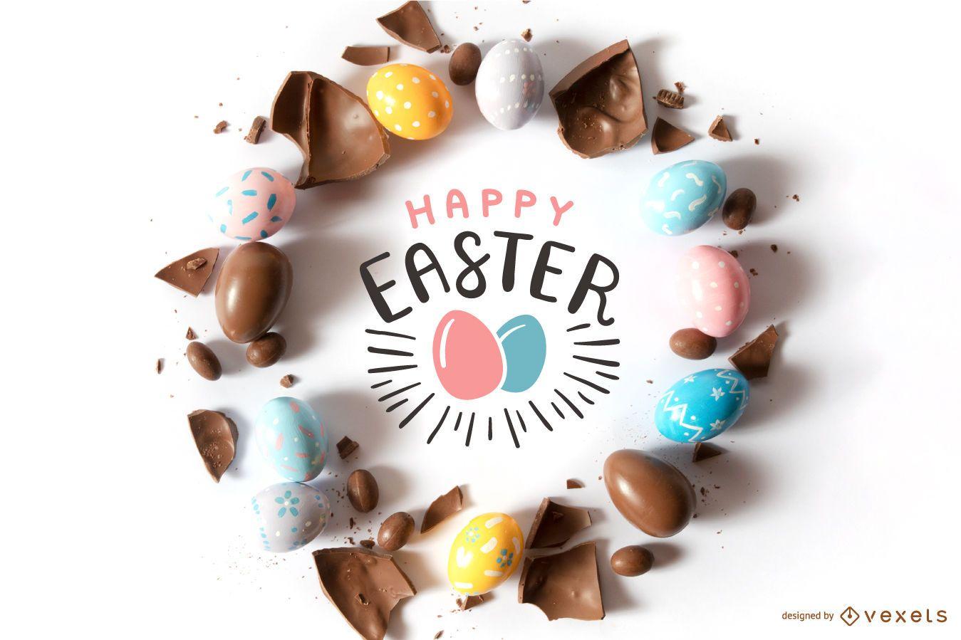 Composición de huevos de chocolate de Pascua feliz
