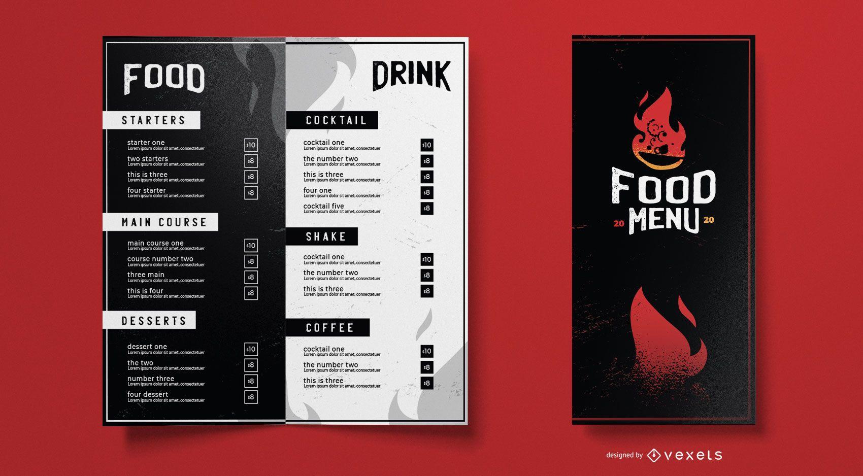 Hot food menu template