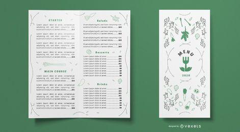 Modelo de menu de comida de restaurante de natureza